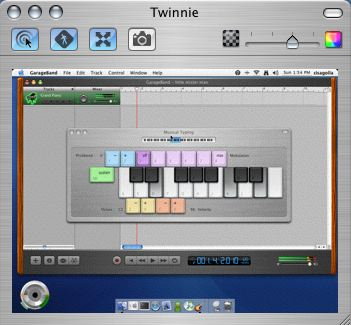 Musical Typing in GarageBand 2 via Remote Desktop